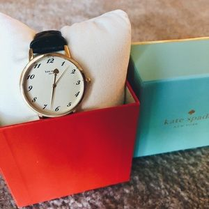 NEW IN BOX black, quilted kate spade watch
